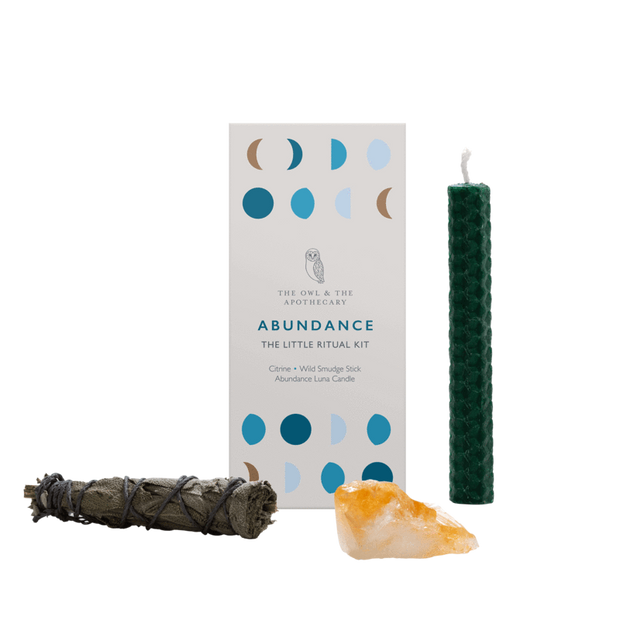 Abundance Ritual Kit with citrine crystal, sage, beeswax candles