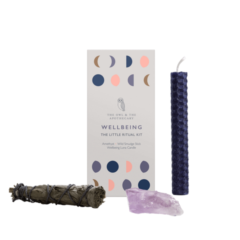 wellbeing Ritual Kit with amethyst crystal, sage, beeswax candles