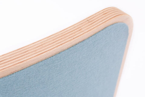 wobbel wooden balancing board with sky blue felt