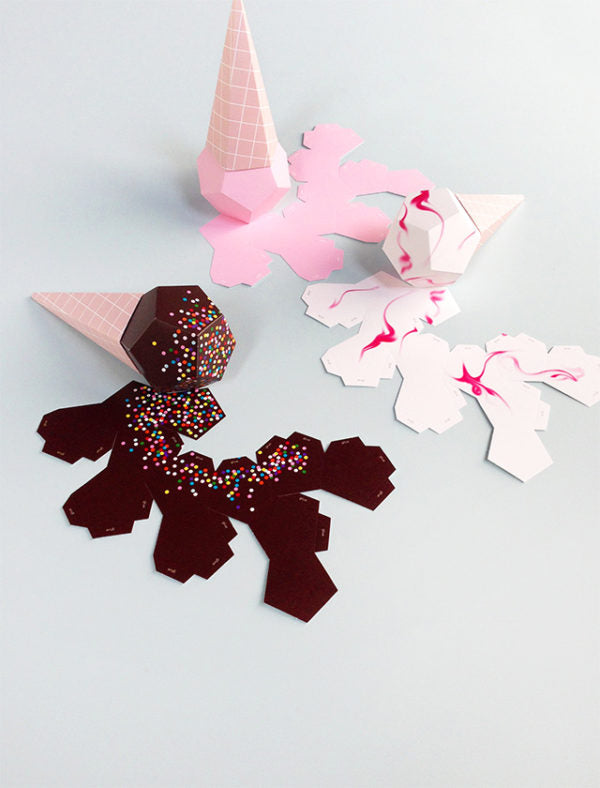 Moon Picnic Paper craft make your own 3D Ice Creams