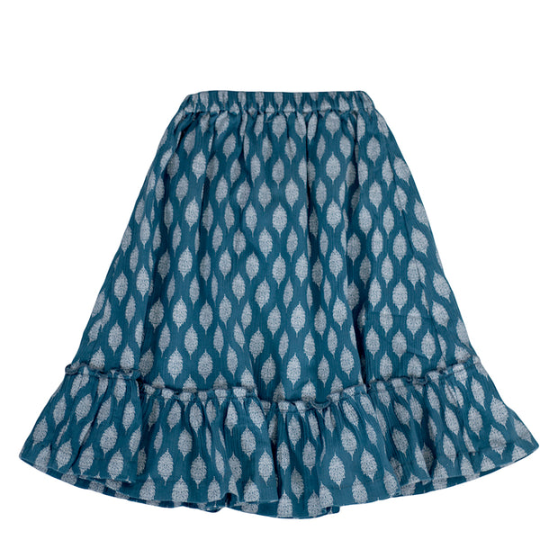 sunchild girls sevan long blue ruffled bottom skirt