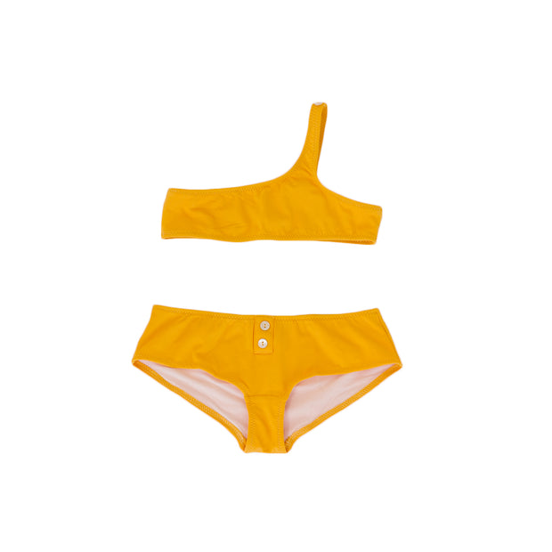 pacific rainbow girls shire Marnie yellow 2 piece asymmetric bikini