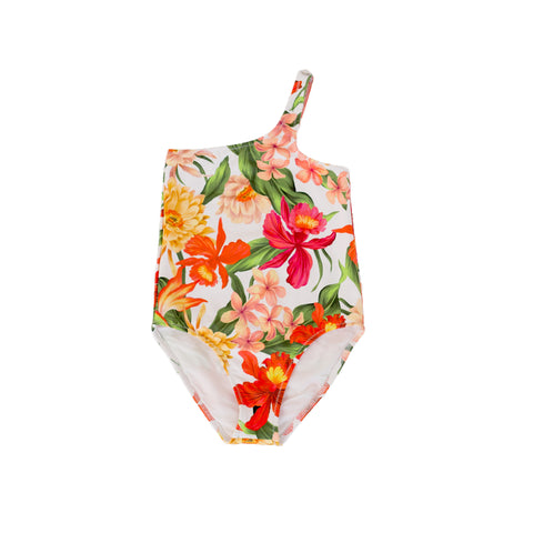 pacific rainbow girls gina floral print asymmetric swimsuit