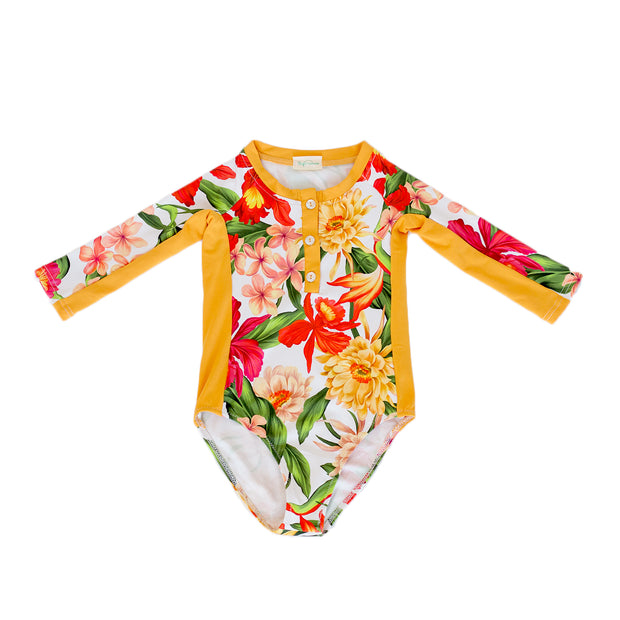 pacific rainbow girls June floral print rash guard swimsuit three quarter sleeves