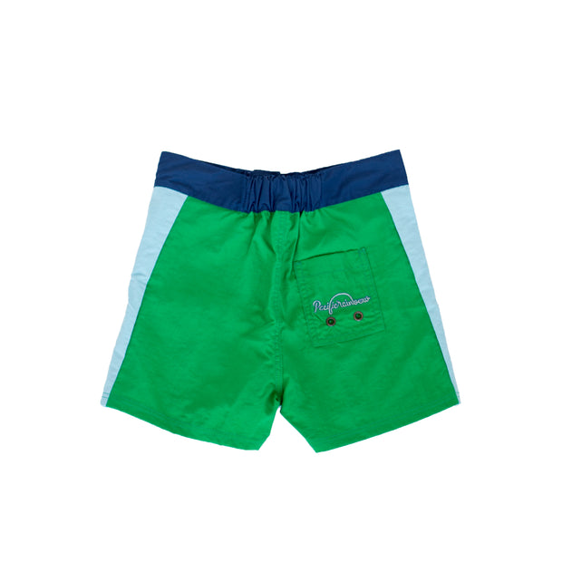 pacific rainbow boys Sidney green and blue swim shorts with drawstrings