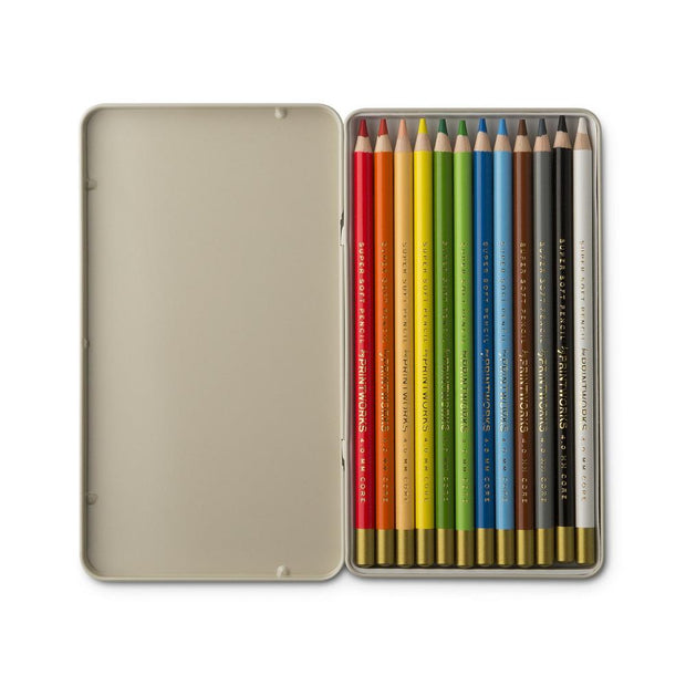 printworks 12 calassical colouring pencils in a metal box