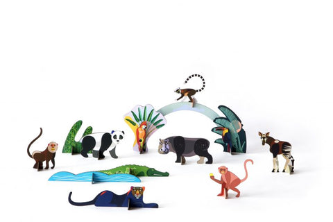 STUDIO ROOF Jungle Animals 3D cardboard assembling toy
