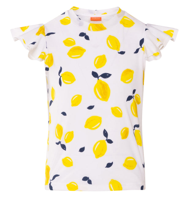 sunuva girls short sleeve white with yellow lemon print rash vest