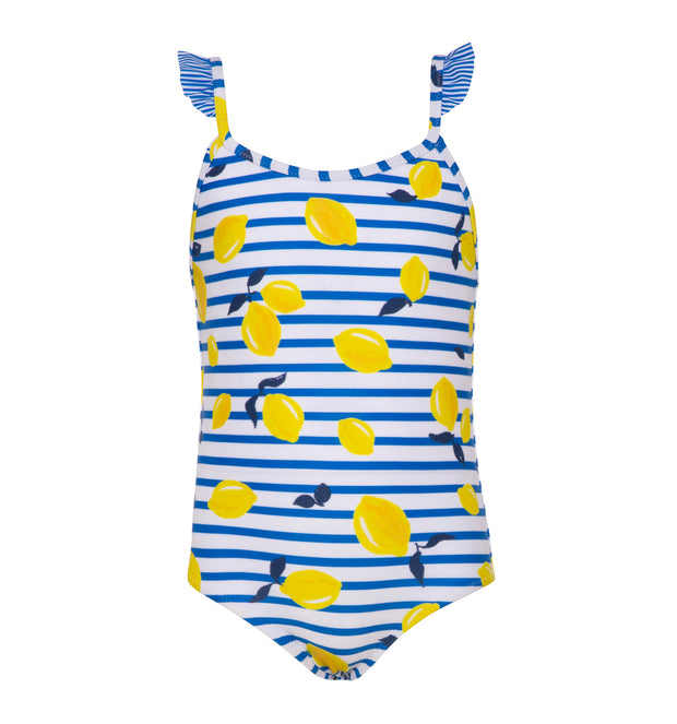 sunuva girls white blue stripy swimsuit with yellow lemon print