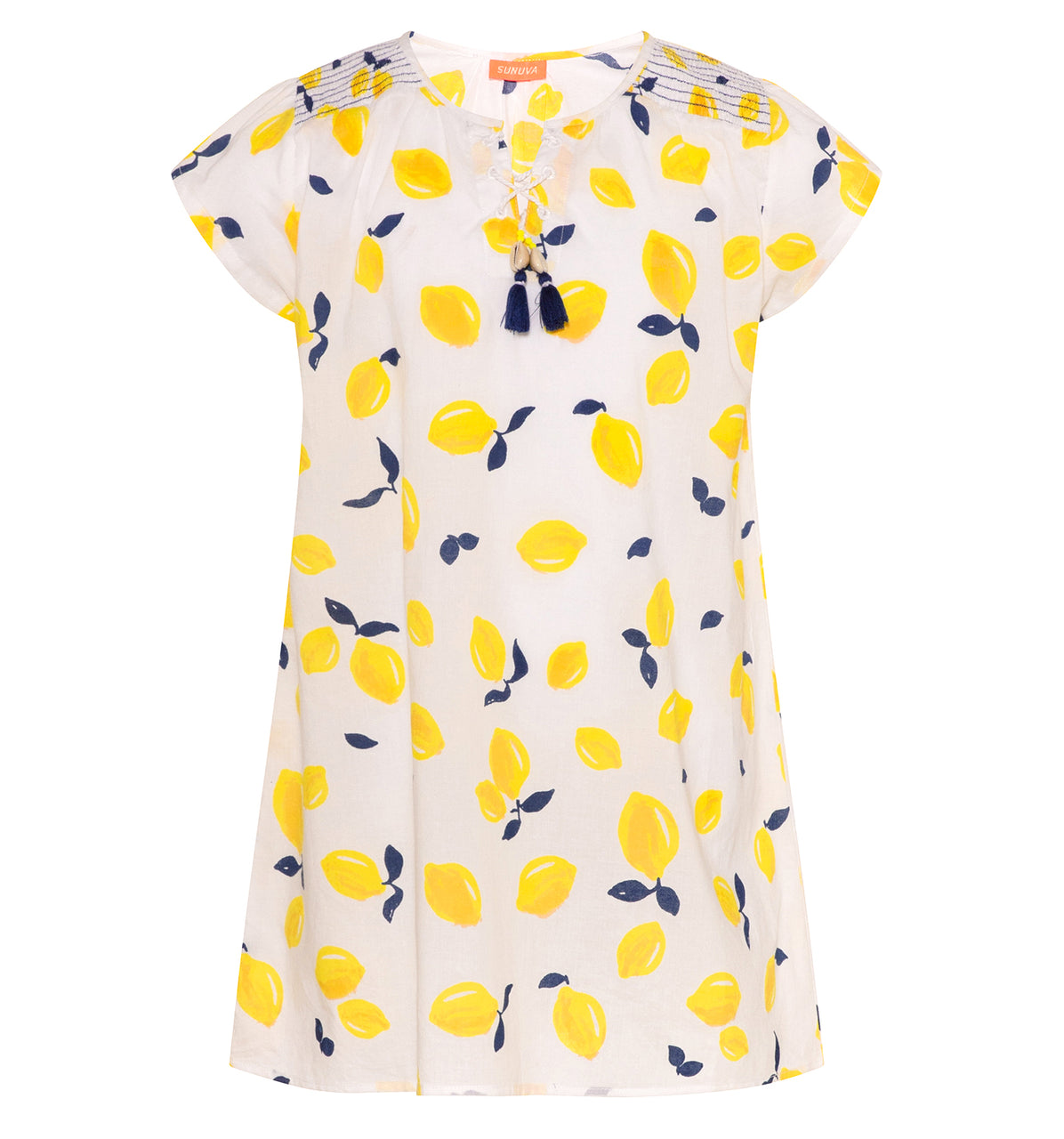 Sunuva girls lightweight cotton dress with yellow Sicilian lemon print and beautiful tassels with shells.