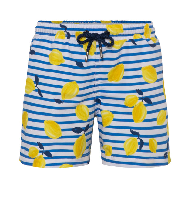 sunuva boys blue white stripy yellow lemon print swim shorts with drawstrings