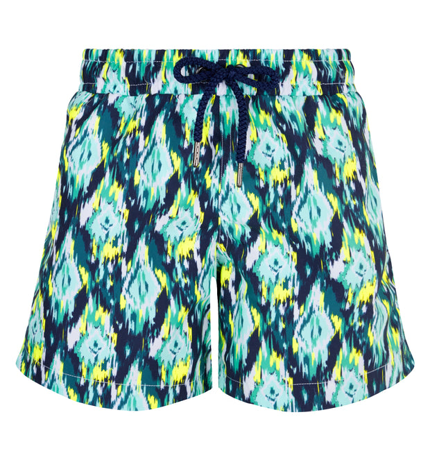 sunuva boys neon ikat print swim shorts with drawstrings