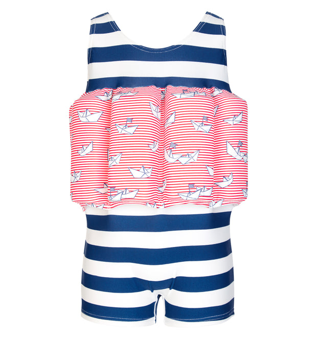 sunuva baby boys blue stripes paper boat print floatsuit