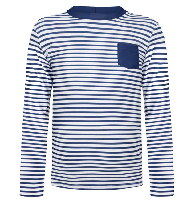 sunuva boys blue white stripy rash vest with pocket