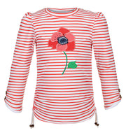 sunuva girls white red stripy rash vest with poppy print on the front