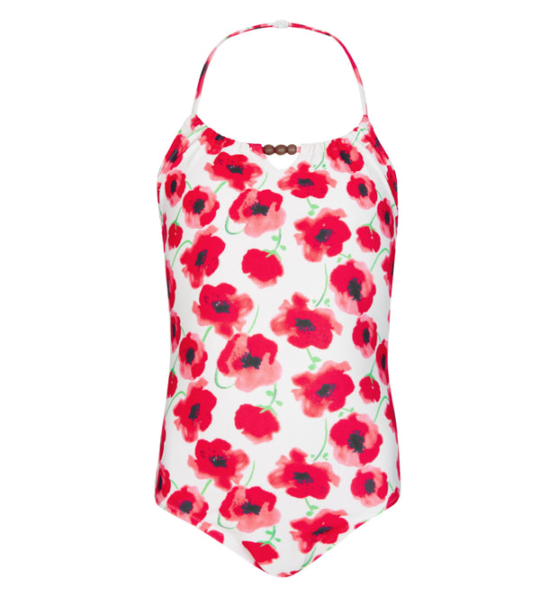 sunuva girls red poppy print swimsuit