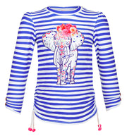 sunuva girls blue white stripy rash vest with elephant print on the front
