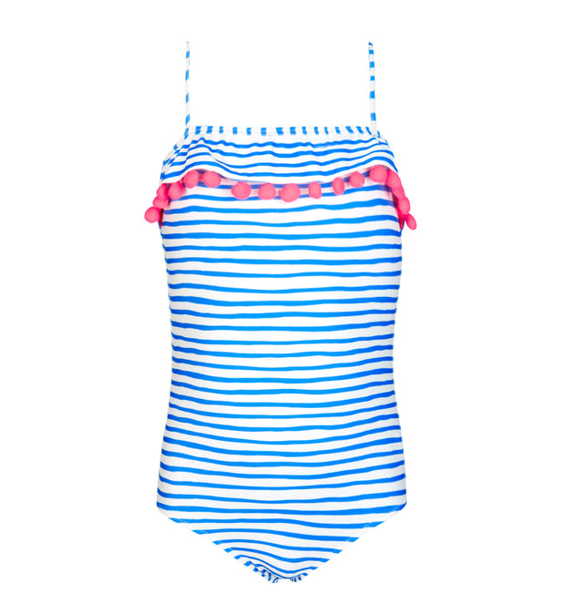 sunuva girls blue white stripy swimsuit with pink pom poms