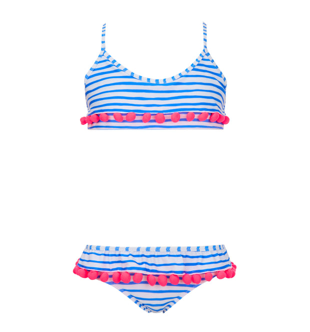 sunuva girls blue white stripy two piece bikini with pink pom poms