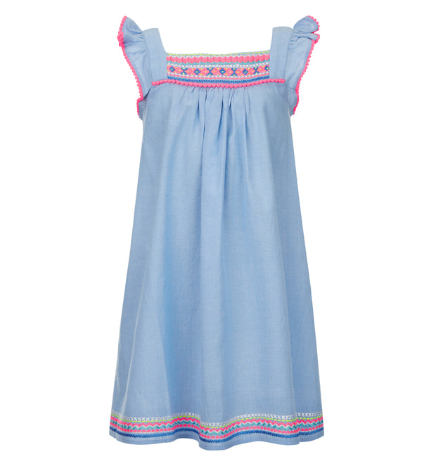sunuva girls blue summer flutter dress with pink embroidery