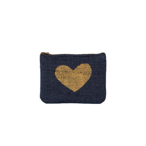 Something Samarah handmade navy blue Jute Coin Purse Golden Heart