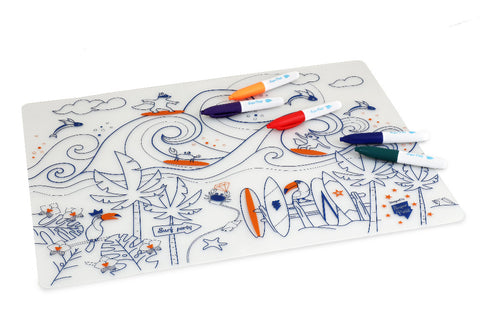 SUPER PETIT Table mat Kit Surf with 5 washable markers