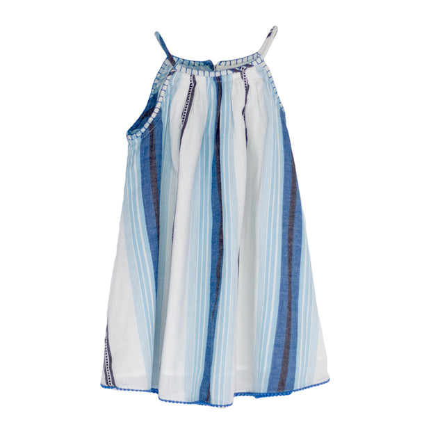 sunchild girls deia stripy blue white summer dress shoulder straps
