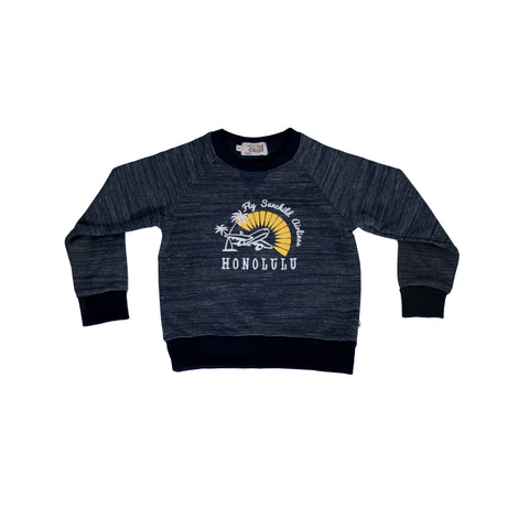 sunchild boys baffin navy blue sweatshirt airplane print