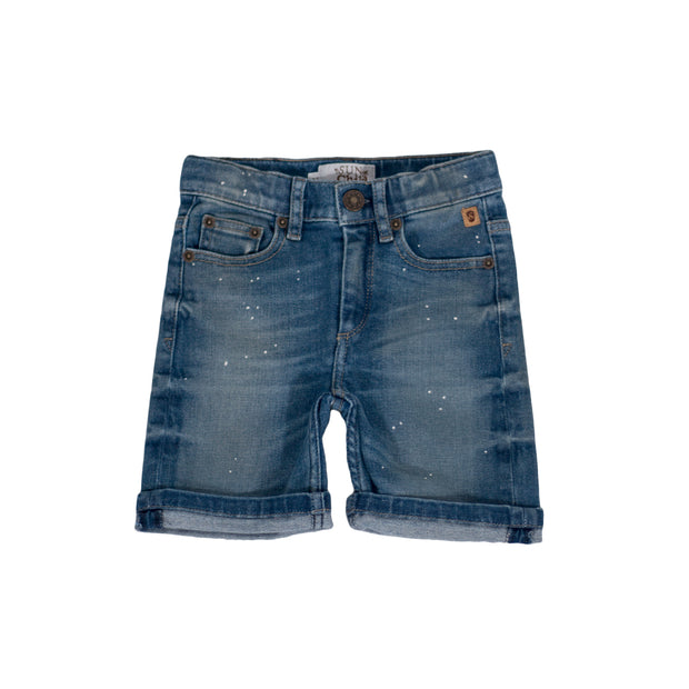 sunchild boys lock denim short bleu pois blancs