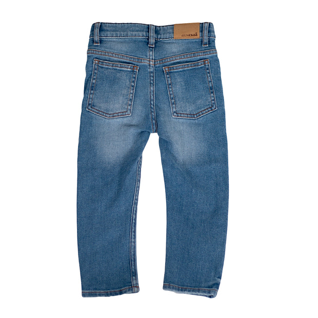 sunchild boys wolf blue denim jeans with adjustable waist