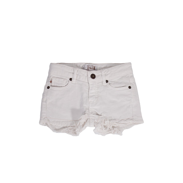 sunchild girls praline cut off style denim white shorts