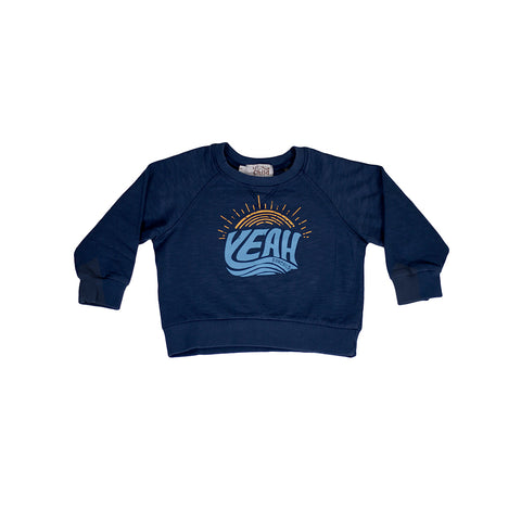 sunchild girls and boys navy blue sweatshirt yeah print