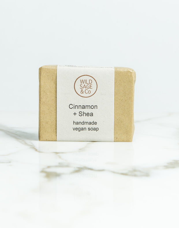 Wild Sage & Co Cinnamon Shea natural handmade vegan soap Bar