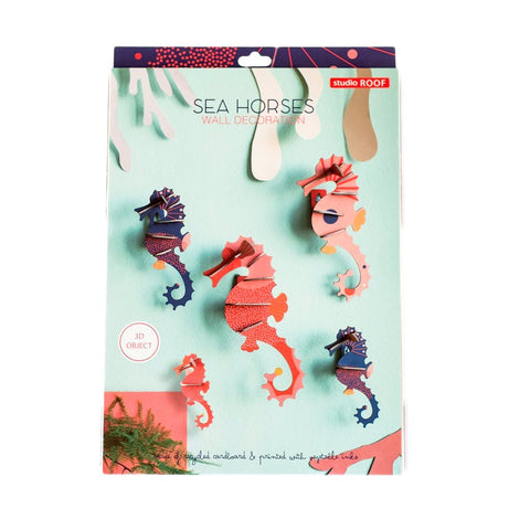 STUDIO ROOF Sea Horses wall decor set 3d cardboard assembling toy