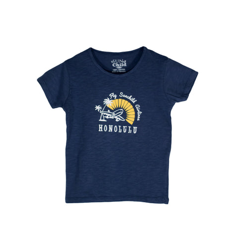 sunchild boys navy blue short sleeve T shirt airplane print Honolulu writing