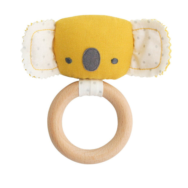 alimrose koala baby wooden teether and rattle