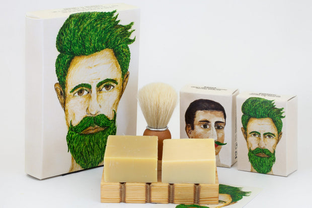 natural, beard care, solid shaving soap, solid beard washing soap, shaving brush