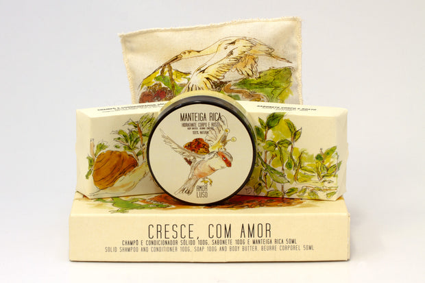 amor luso natural shampoo & conditioner soap bar, body butter, soap and lavender pillow