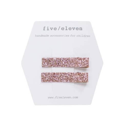 five/eleven Champagne Flat Hair Clips pack of 2