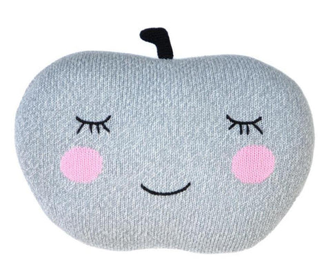grey knitted apple cushion with smiley face