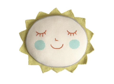 blabla kids soft knitted sun cushion with smiley face