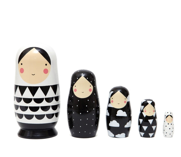 Petit Monkey Nesting Dolls - Black & White