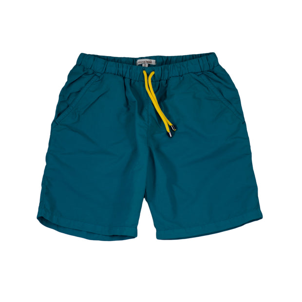 sunchild boys booby long petrol green swim shorts drawstring waist