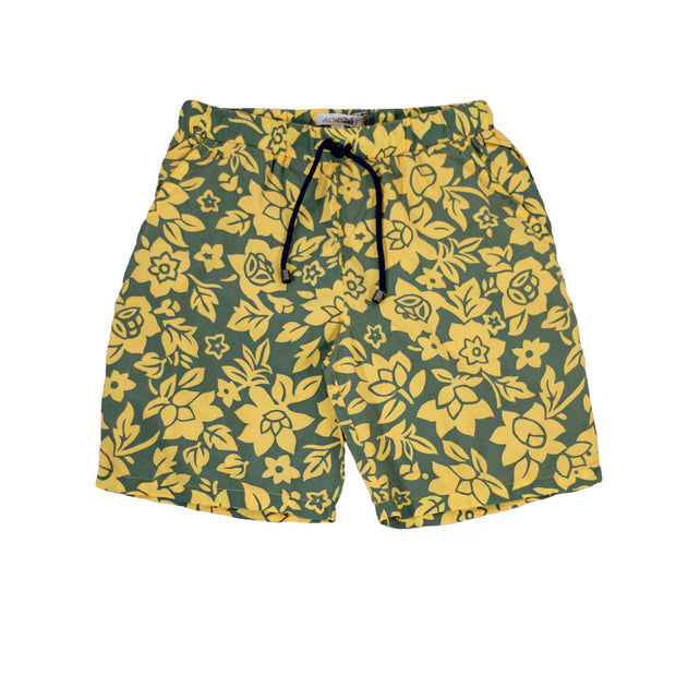 sunchild boys booby long yellow printed swim shorts drawstring waist