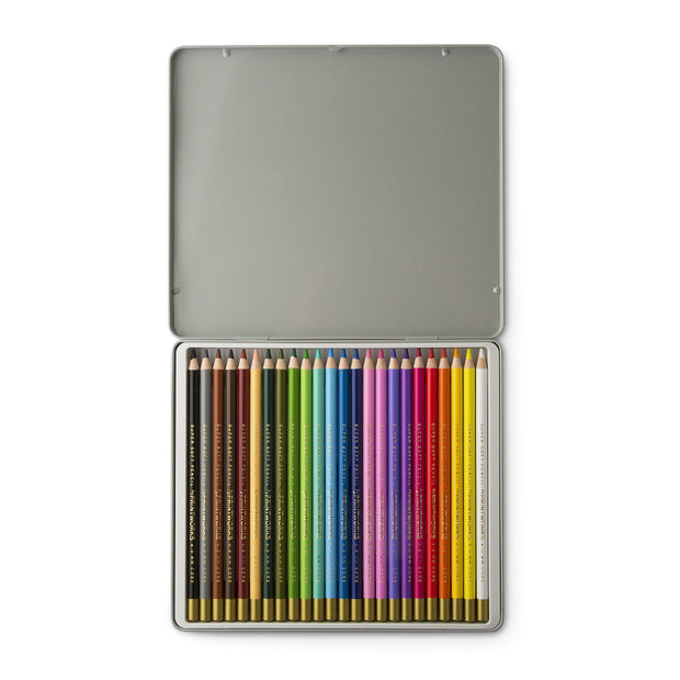 Printworks 24 super soft colouring pencils in metal box