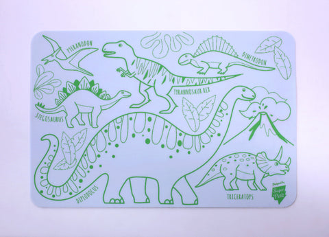 super petit mini reusable colouring table mat dino with 4 washable markers