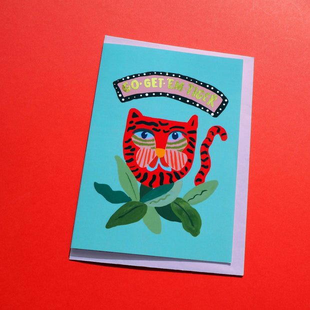 eleanor bowmer go get them tiger greeting card