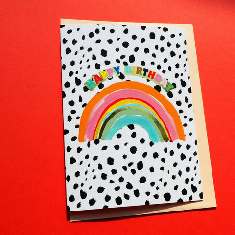eleanor bowmer happy birthday greeting card with a rainbow