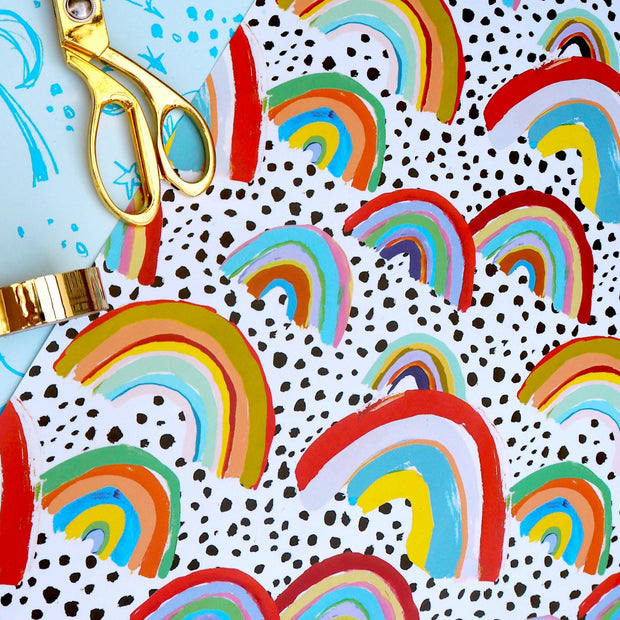 eleanor bowmer gift wrap sheet with rainbows