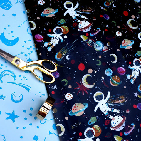 eleanor bowmer gift wrap sheet with spacemen